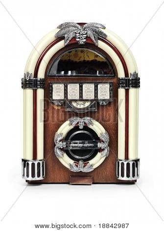 Retro juke box radio isolated on white background with clipping path