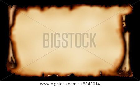 Old piece of parchment with torn burnt edges yellowish vintage paper background isolated on black with a clipping path