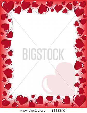 Valentines day background frame with heart shaped ornament