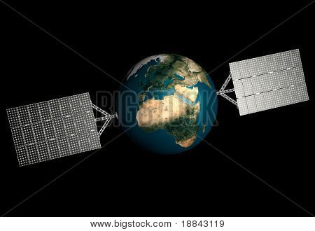 Planet Earth with solar panels attached to it. Solar power, Environmental technologies and sustainable power sources concept. Isolated on black background.