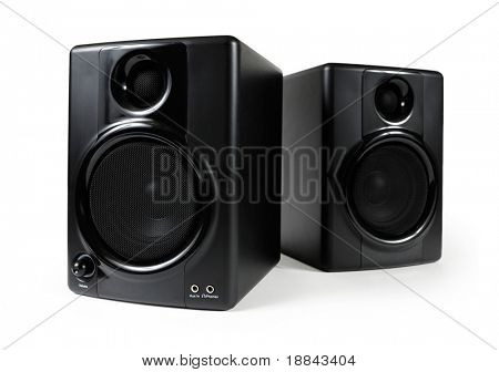 Black studio monitors. High-end sound speakers. Isolated with clipping path on white background.