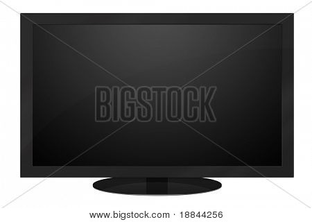 Black LCD TV isolated on white background