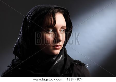Beautiful Young Woman Wearing Headscarf In Church