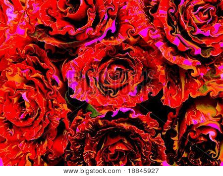 digitally enhanced photograph of a display with hocus-pocus roses, expressing the ffelin of love and passion