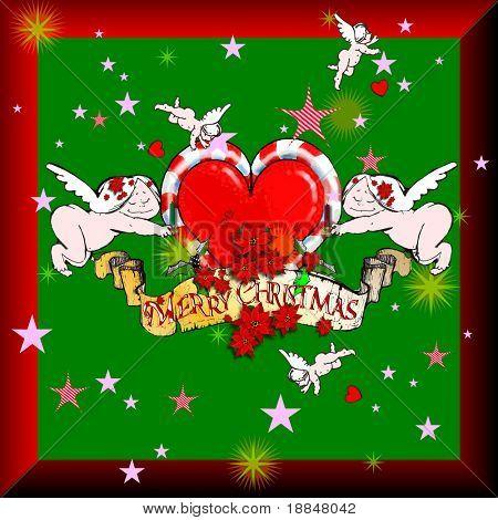 graphic christmas design/panel based on hand drawn illustrations