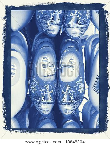 cyanotype photographic reproduction of traditional  Amsterdam clogs