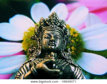 cross process  technique photographic reproduction showing a green tara statue