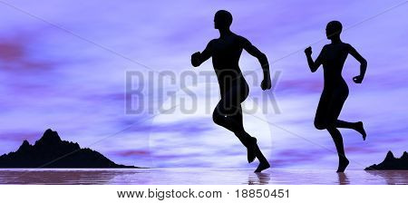 digitally created background showing the silhouettes of a couple jogging on the beach with room for text