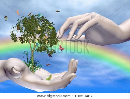 three dimensional conceptual eco-awareness design with room for text