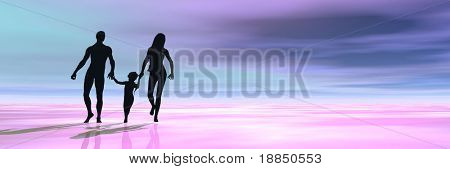digitally created background showing the silhouettes of a healthy happy young family having a walk in s tropical holiday resort, room for text