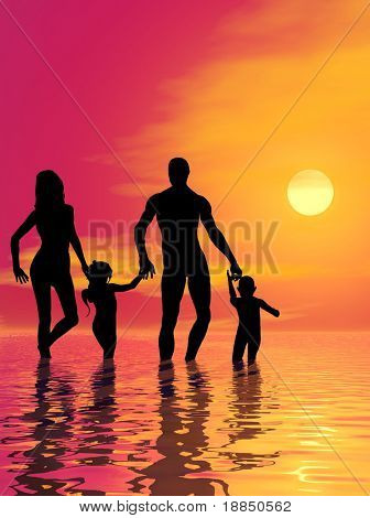 digitally created background design with room for text, showing a young, happy and healthy family