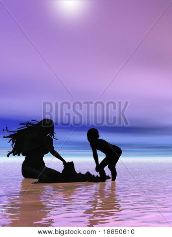 conceptual digital background design showing the silhouettes of a couple in  a very happy and romantic mood/setting, room for text