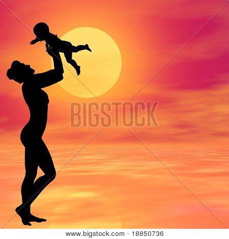 digital creado fondo 3D conceptual que muestra la silueta de una madre joven y feliz liftin
