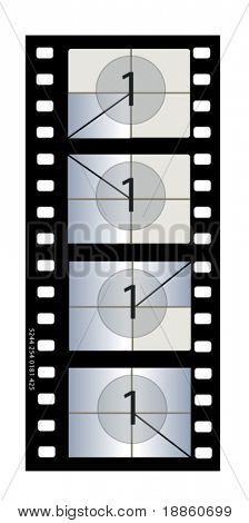 35 mm Motion Picture Film with countdown pattern and academy aperture. Exact replica of original 35 mm work print