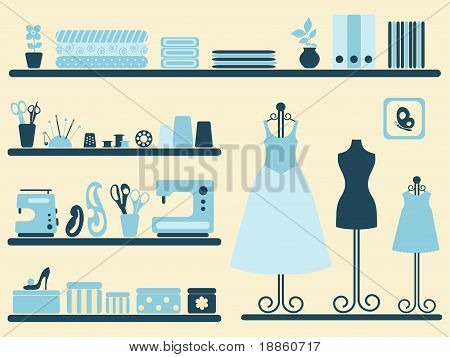Sewing room interior