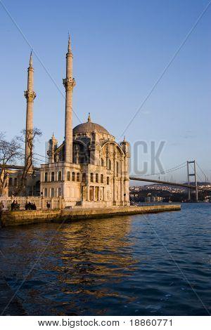Ortakoy Mosque and The Bosphorus Bridge in Istanbul.
