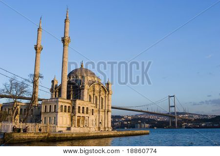 Famous Ortakoy Mosque and The Bosphorus Bridge in Istanbul