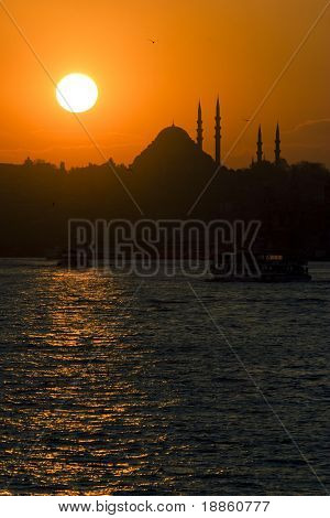 Sunset on The Blue Mosque in Istanbul Turkey vertical composition
