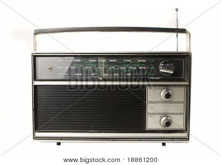 An old radio isolated on white
