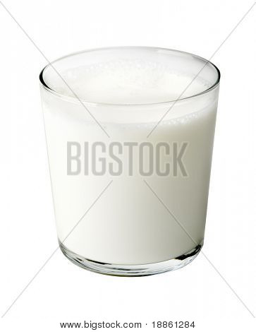A glass full of milk isolated on white background