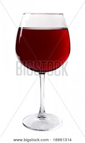 A large red wine glass full isolated on white