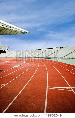 Running Tracks At An Empty Stadium
