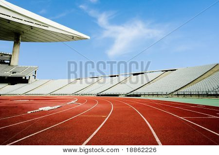 Running Tracks In An Empty Stadium