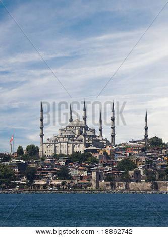 The blue mosque and the bosphorus in Istanbul Turkey