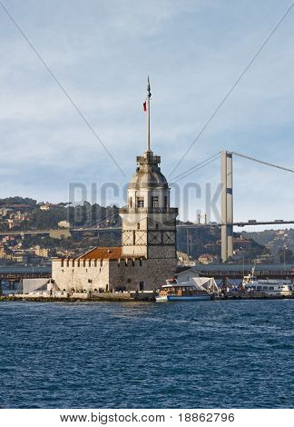 The Maiden Tower and the Bosphorus Bridge in Istanbul Turkey