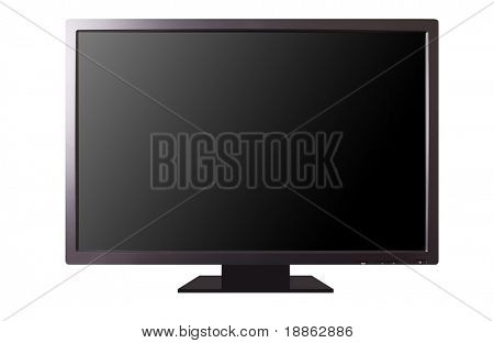 30 inch modern LCD monitor isolated on white