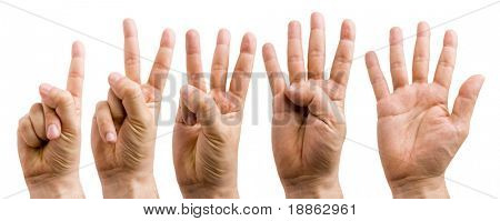male hands counting from 1 to 5 isolated on white