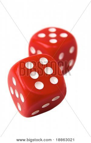 Red dice showing 6 and 5 isolated on white