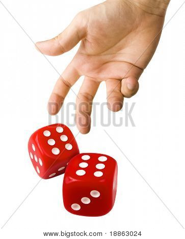 Male hand rolling red dice isolated on white background