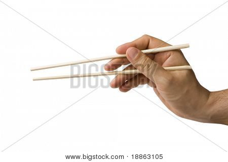Male hand holding chop sticks isolated on white (also with clipping path)