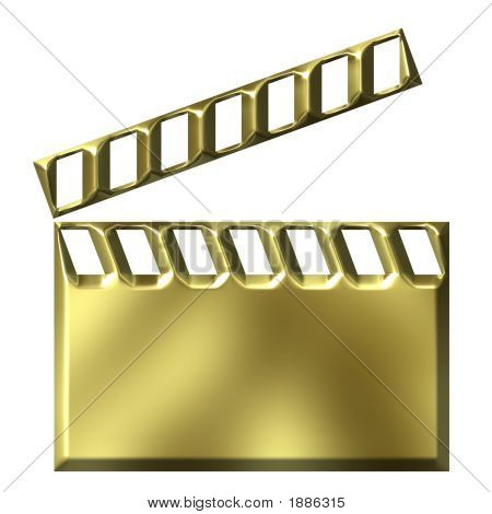 3D Golden Film Clap Board