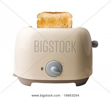 Retro toaster and a toasted slice of bread isolated on white with clipping path