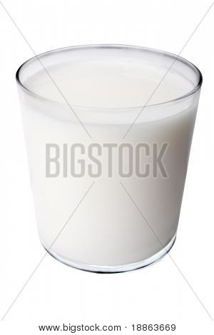Glass of milk isolated on white with clipping path