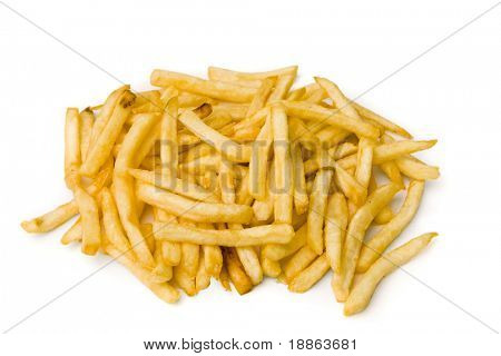 French fries isolated on white with clipping path