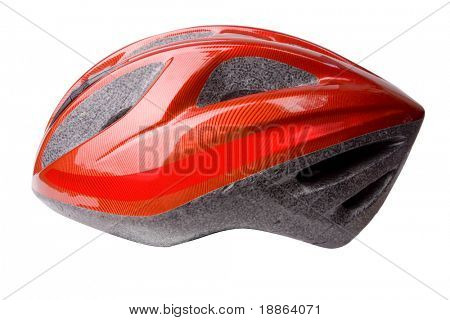 Red bicycle helmet isolated on white with clipping path