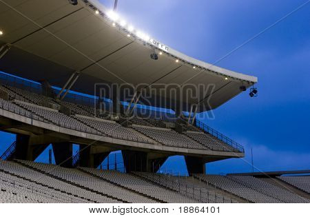 Empty Stadium With Lights On