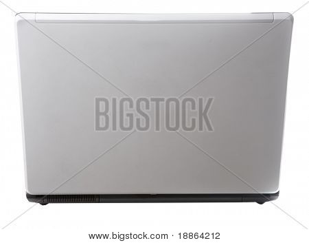 Laptop back view isolated on white with clipping path