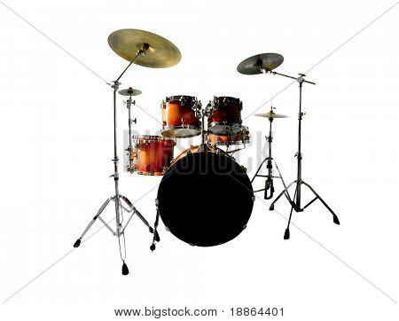 Orange rot Schlagzeug isoliert auf weißem Hintergrund