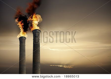 Global Warming theme with chimneys and flames