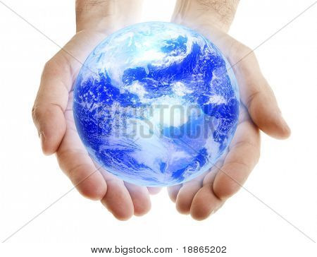 Glowing blue earth in male hands on white background