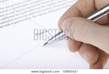 Hand signing contract with a pen macro
