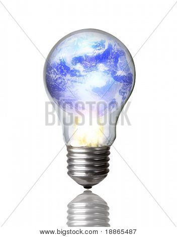 Lightbulb burning earth concept image