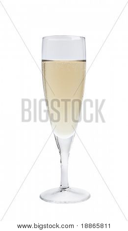 Single champagne glass isolated on white with clipping path