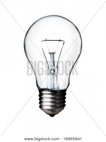 Classic Light bulb turned off isolated on white with clipping path