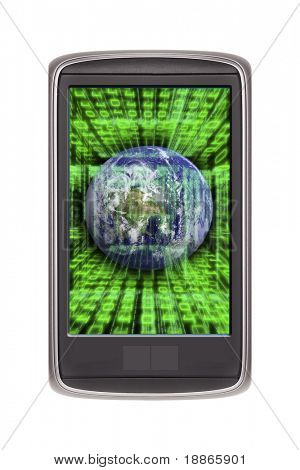 Smart phone isolated on white (original design) with earth and code on the screen