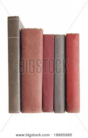 Stapel alter Bücher, isolated on white